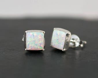 White Opal Stud Earrings - Opal Earrings - October Birthstone Studs - Gemstone Studs - Sterling Silver Studs - Tiny Dainty Earrings