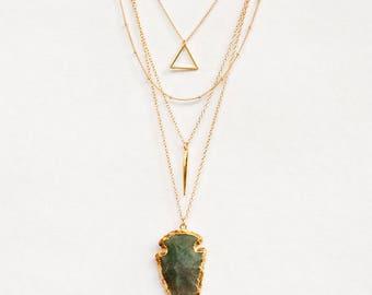 Layered Necklace Set - Set of 4 - Agate Arrowhead Necklace - Layering Necklaces - Gold Necklace - Layering Set - Boho Chic - Statement