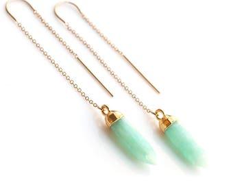 Green Amazonite Threaders, 14k Gold Filled Natural Gemstone Earrings, Spike Ear Threaders, Minimalist Jewelry, Delicate Drop Chain Earrings