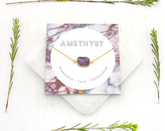 Boho Amethyst Necklace, Natural February Birthstone Gift, Healing Crystal Necklace, Inspirational Jewelry, Gemstone Slice, Gift Idea for Mom
