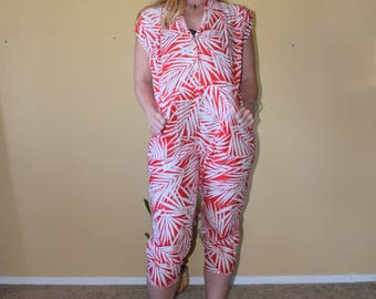 Summer Time - Vintage Short Sleeve Capri One Piece Playsuit Romper with Red and White Palm Frond Print Womens
