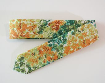 Liberty of London Watercolor Floral Skinny Tie in Orange, Teal // Cotton & Silk Necktie