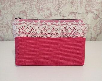 Dottie Envelope Zipper Pouch // Red Dots & Cotton Lace