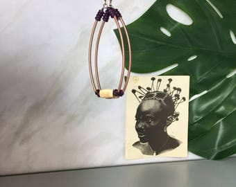African earrings - beaded hoop - ethnic jewelry - african jewelry - tribal jewelry - boho tribal jewelry