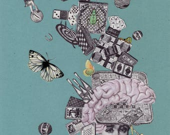 64. Mind Games Original Collage #100daysofpaperheads #the100dayproject