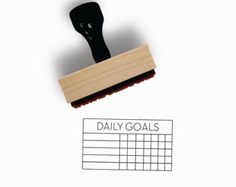 Daily Goals Habit Tracker Stamp | One Week, Five Goals | Task Planner for Minimalist Journal | Wood Mounted Rubber Stamp by Creatiate | BJ1