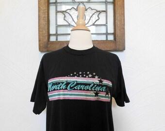 North Carolina T Shirt Vintage 1980s / 1990s Travel Tourism Souvenir Vacation Tee - M