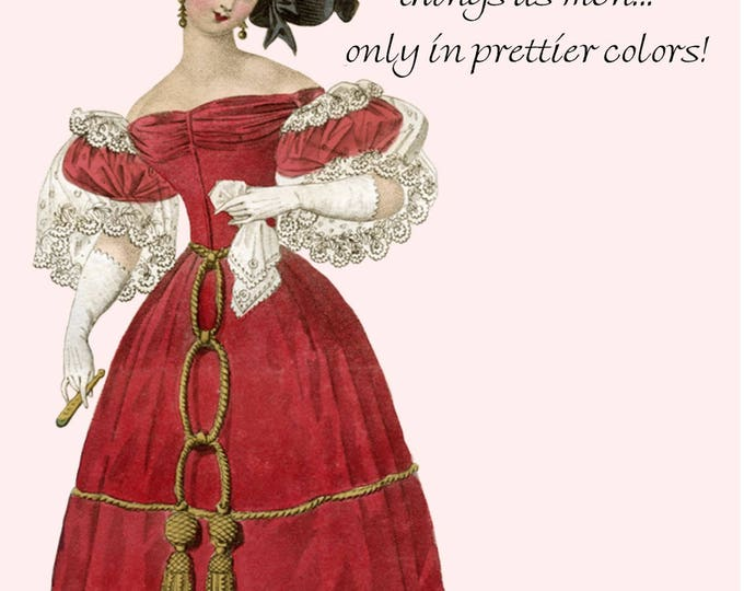 What Do Women Want? The Same Things As Men, Only In Prettier Colors ~ Marie Antoinette Funny Postcard ~ Pretty Girl Postcards ~ Red ~ Pink