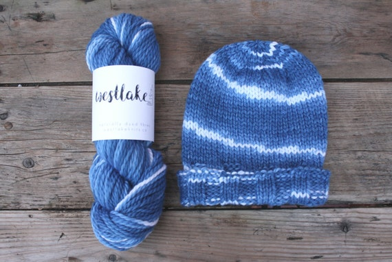 Blue and White Indigo Dyed Yarn, Cloud, self patterning skein