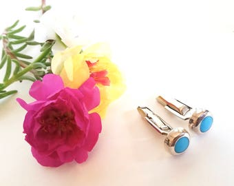 Sterling & Turquoise Cufflinks - Aqua - Gift - Silver