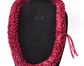 Hawaiian Satin Ribbon Lei DF Burgundy Plumeria Style 39in x 2in.