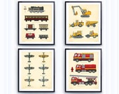 Boys room decor, Set of 4 Prints, Construction print, Airplane Art, Train Wall Prints, Fire Truck, Toddlers Room Decor, Transportation Print