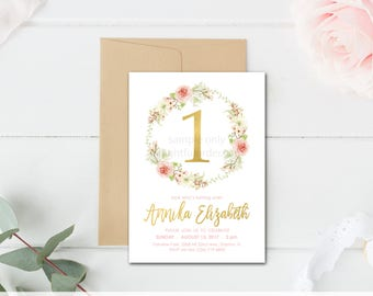 First Birthday Party Invitation, Floral Wreath Invite, Boho Birthday, Party Invitation, Pink & Gold Invite, JPEG Digital File, You Print