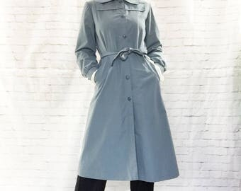 Vintage 80s Deco Blue Belted Trench Midi Coat S M Pockets Clearance Costume
