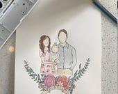 Custom Watercolor Faceless Family Portrait