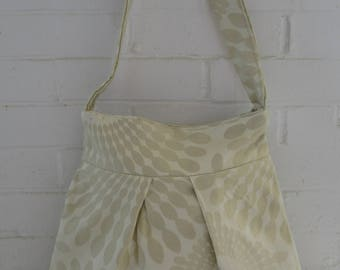 White Floral Fabric Pleated Bag, Shoulder Bag, Handbag, Tote, Bling Fabric, Glitter Accent