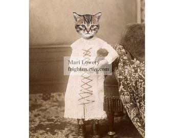 Cat Art, Animal in Clothes, 5x7 Print, 8x10 Print, Cat Wall Decor, Animal in Dress Art