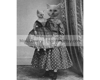 Persian Cat Art 8x10 Inch Print, Black and White Victorian Girl and Doll, Anthropomorphic Animal in Clothes Mixed Media Collage Print