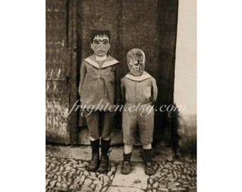 Halloween Art Print, Frankenstein, Wolfman, 8.5 x 11 inch Print, Monster Art, Halloween Wall Decor, Kids in Masks