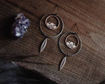 lotus and feather. a pair of bohemian copper hoop flower earrings