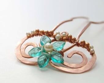 Seafoam Pearl Copper Swirl Hair Fork
