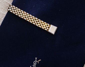 Gold Mesh Tie Clip Vintage Swank Textured Simple Men's Accessories Add On 7WW