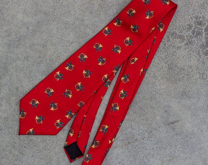 Vintage Christmas Neck Tie With Horns  & Holly | Ugly Xmas Tie 7CJ