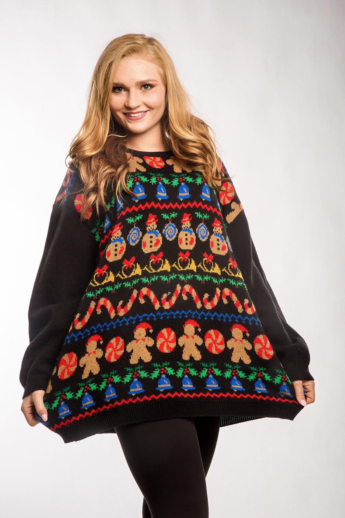 Oversized Vintage Ugly Christmas Sweater Dress XXXL | Holiday Xmas ...
