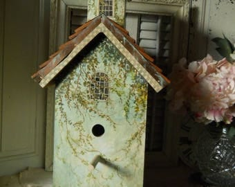 BirdHouse/ Aviary Hand Painted OOAK Original Birdhouse With a Cupula/ Top Dormer, Copper And Cedar Shingles and Perch Below Front Opening