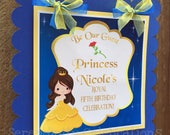 Princess Party Sign, Belle Door Sign, Birthday, Baby Shower, Welcome Sign, Door Sign, Photo Prop, Beauty and the Beast, Beauty, Belle sign