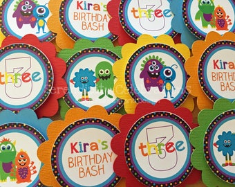 Cupcake Toppers, Monster Bash, Set of 12, Personalized, Cupcake picks, 1st Birthday, Monster cupcake toppers, Monster Birthday, Monster Baby