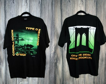 RARE Vtg 90s Type O Negative T Shirt / 'World Coming Down - Only the Dead Know Brooklyn' Like New Band Tee / Size XL