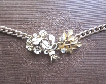 Woodland Vintage Assemblage Necklace / Repurposed Vintage Jewelry / OOAK / Boho Chic / White Wedding