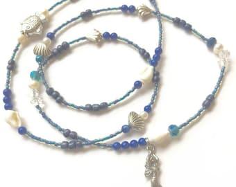 Yemaya Waist Beads, Lapis Lazuli Waist Beads, Ocean Goddess Waist Beads, Orisha Waist Beads, Blue Waistbeads, Mermaid Belly Chain