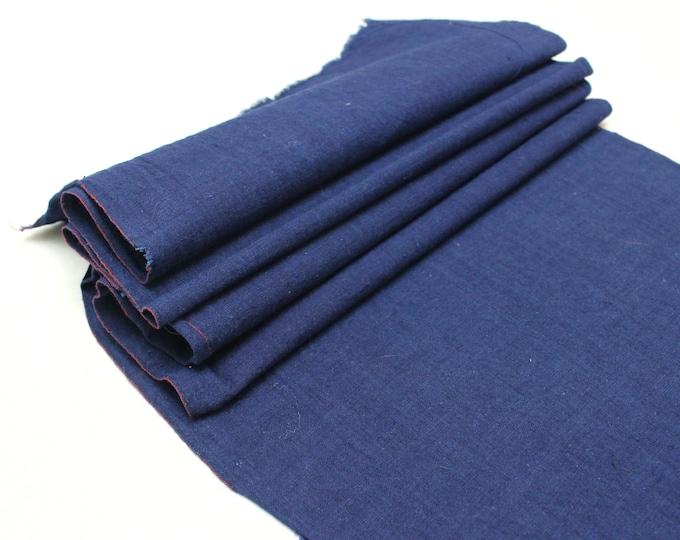 Japanese Indigo Cotton. Artisan Aizome Boro Textile. Blue Vintage Folk Fabric (Ref: 1725)