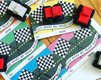 PRINTABLE  Race Car Valentine Tag : INSTANT DOWNLOAD 8.5x11