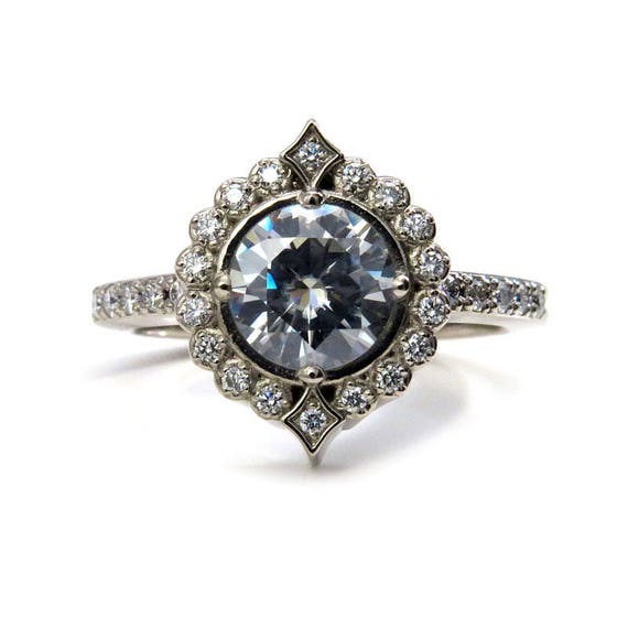 Moissanite Pointed Diamond Halo Engagement Ring with White or Grey Moissanite Center Stone - 14k Gold