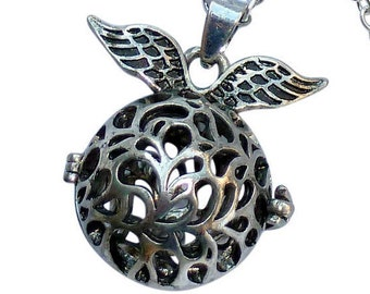 YOur perSOnal STYlish Essential oil necklace diffuser Steampunk silver Fairy wings  d1 0