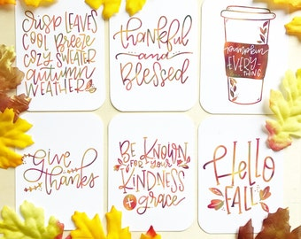 Fall Inspired - Encouragement Cards, Bible Journaling, Planner Card, Gift Tags, Thankful and Blessed, Pumpkin Everything, Give Thanks,, Kind