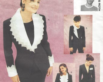 90s Christian Frances Roth Womens Jacket with Dramatic Collar & Cuffs Vogue Sewing Pattern 1051 Size 12 Bust 34 Vogue Attitudes Patterns