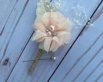 Peach Chiffon Flower Boutonniere, Peach Boutonniere, Neutral Boutonniere, Rustic Boutonniere