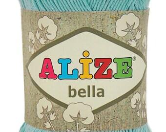 Blush Powder Cotton Baby Yarn, Light Weight, Natural Cotton Alize Bella yarn, in baby blue (213) Eq