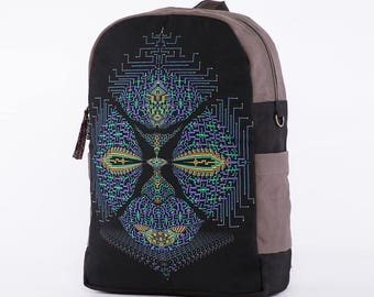 Psychedelic Backpack For Laptop, Canvas Backpack, Computer Backpack, Screen Printed, Mens Backpack, Womens Backpack