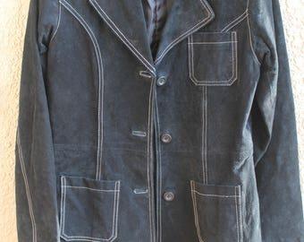 Women's Vintage Leather Black Taxi Jacket Medium 1990s