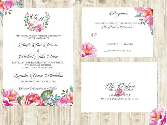 Watercolor Wedding Invitation - Peony/Peonies Wedding Invitation - Floral Wedding invitation