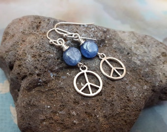 Peace Sign Blue Earrings - Blue Kyanite Peace Sign Silver Plated Earrings - Peace on Earth, Everyday, jingsbeadingworld inspired by nature