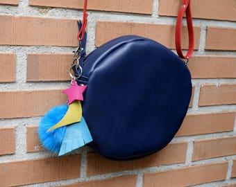 Leather purse bag,leather bag,boho bag,boho chic purse,circle purse,pendans purse,rainbow purse,circle bag,crossbody boho,stars bag