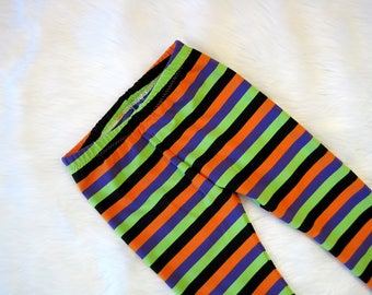 Halloween Leggings | Multi-Colored Stripes | Toddler and Baby Halloween Sets | Preemie - 5/6