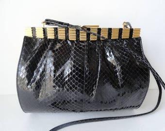 BLACK SNAKESKIN HANDBAGS  Vintage Black Snake Skin Shoulder Bags Black Snake Skin Cross body Bag Vintage Black Leather Handbags Black Purse