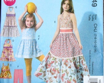 Fast & Easy Sewing Pattern McCalls 6549 Halter Maxi Dress Top Shrug Leggings Tween Girl Size 7 8 10 12 14 Chest Bust 26 27 28 30 32 Uncut FF